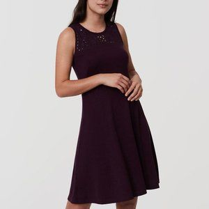 LOFT Floral Cutout Flare Dress in Bewitched Plum